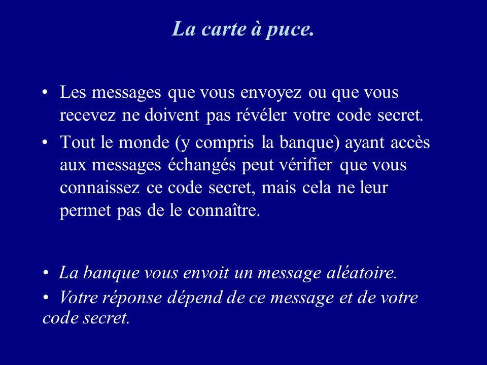 La carte à puce. Les messages que vous envoyez ou que vous recevez ne doivent pas révéler votre code secret.