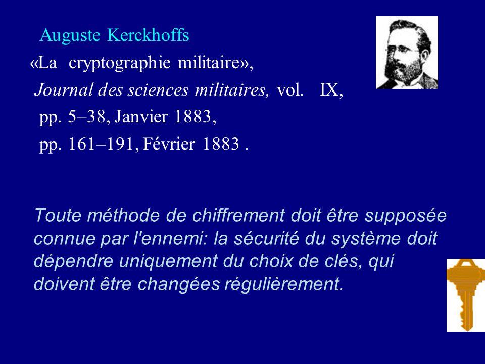 Auguste Kerckhoffs «La cryptographie militaire», Journal des sciences militaires, vol. IX, pp. 5–38, Janvier 1883,