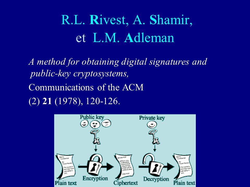 R.L. Rivest, A. Shamir, et L.M. Adleman