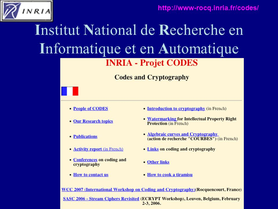 Institut National de Recherche en Informatique et en Automatique