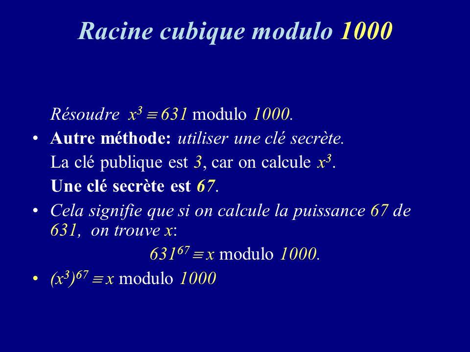 Racine cubique modulo 1000 Résoudre x3  631 modulo 1000.