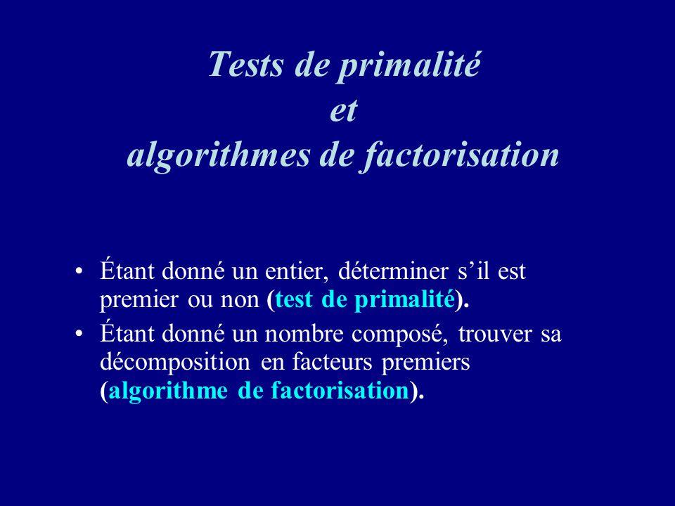 Tests de primalité et algorithmes de factorisation