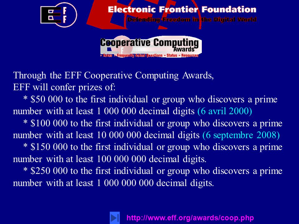 Through the EFF Cooperative Computing Awards,