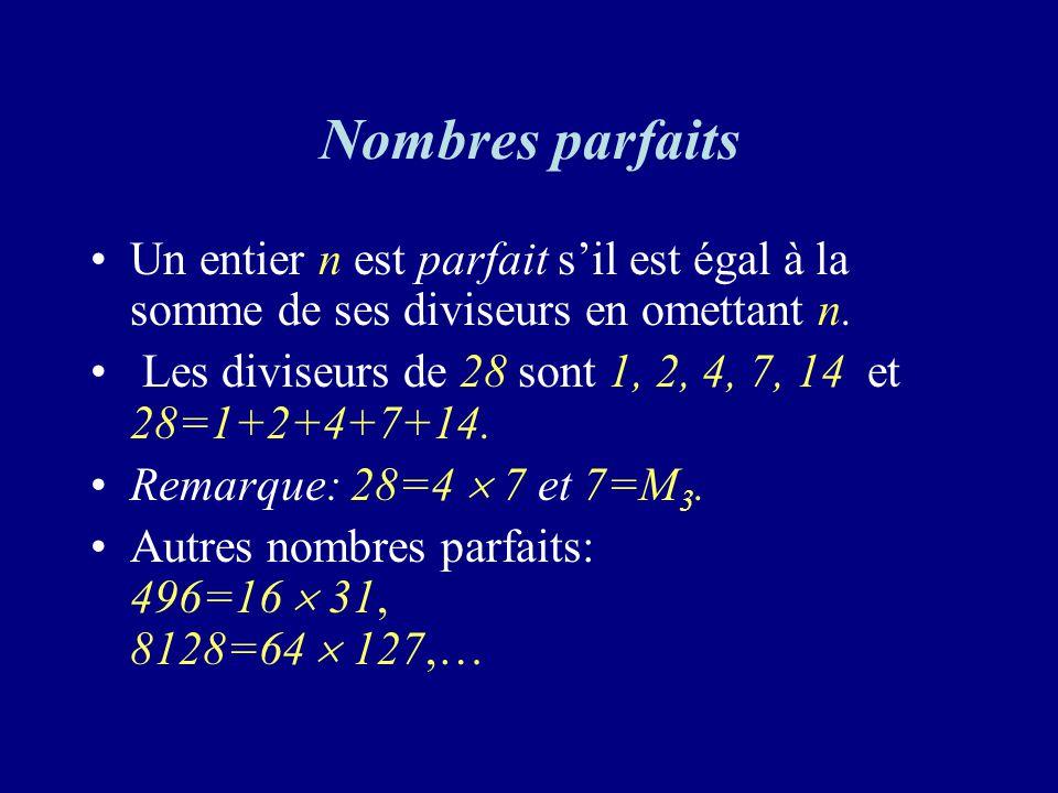 Nombres parfaits Un entier n est parfait s'il est égal à la somme de ses diviseurs en omettant n.
