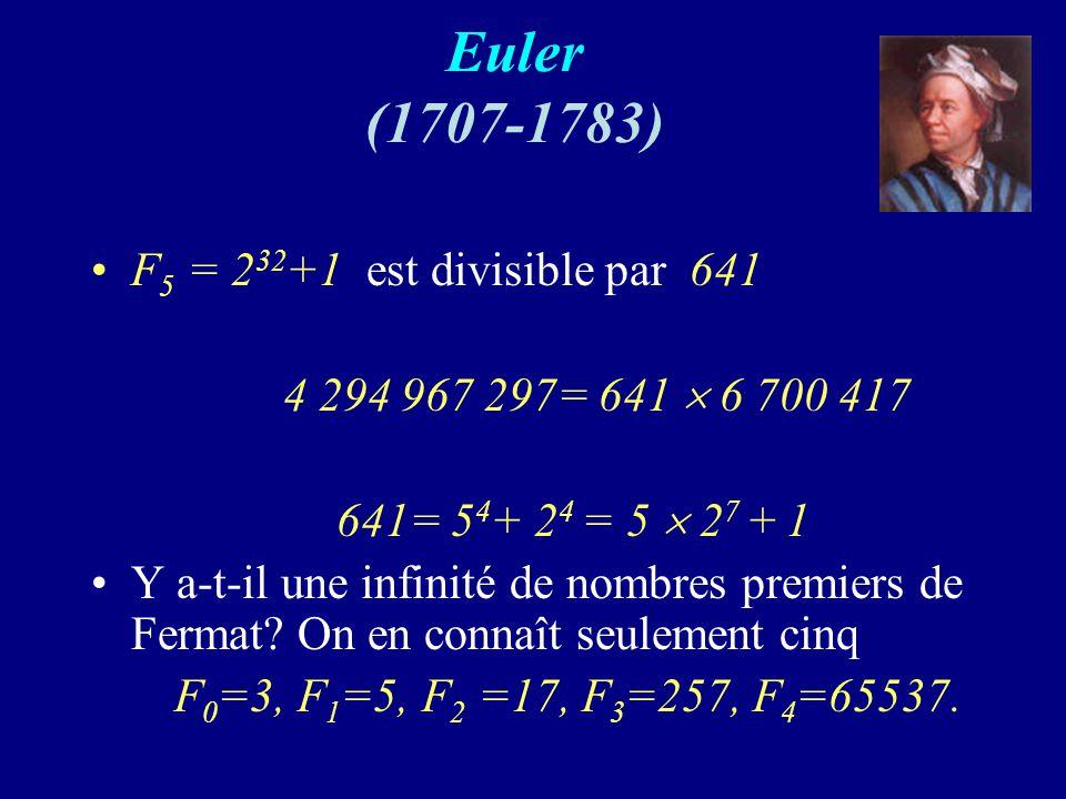 Euler (1707-1783) F5 = 232+1 est divisible par 641