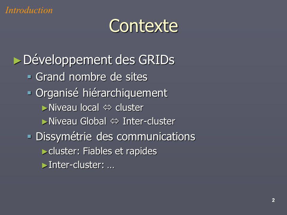 Contexte Développement des GRIDs Grand nombre de sites