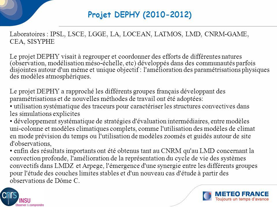 Projet DEPHY (2010-2012) Laboratoires : IPSL, LSCE, LGGE, LA, LOCEAN, LATMOS, LMD, CNRM-GAME, CEA, SISYPHE.