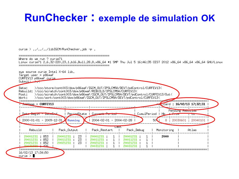 RunChecker : exemple de simulation OK