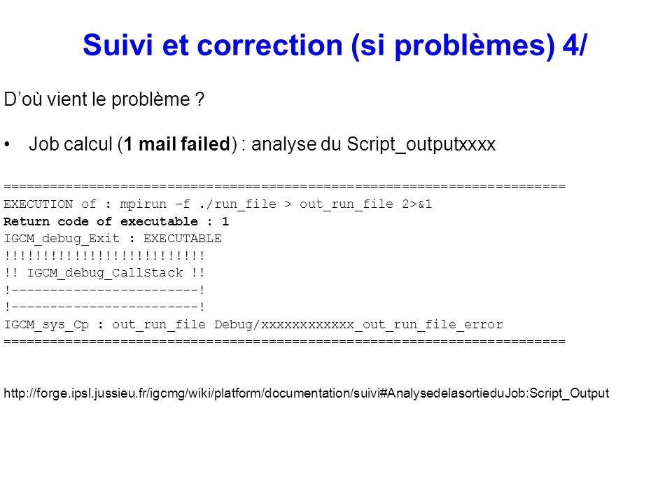 Suivi et correction (si problèmes) 4/