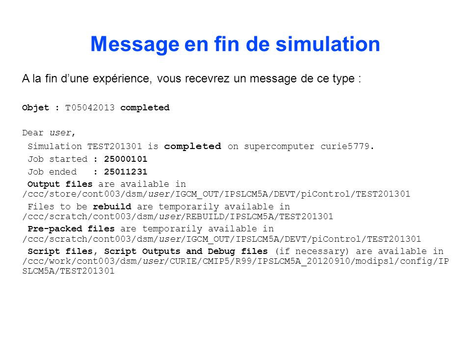 Message en fin de simulation