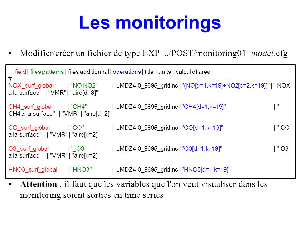 Les monitorings Modifier/créer un fichier de type EXP_../POST/monitoring01_model.cfg.