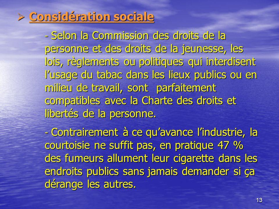 Considération sociale. - Selon la Commission des droits de la
