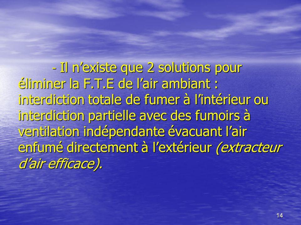 - Il n'existe que 2 solutions pour éliminer la F. T