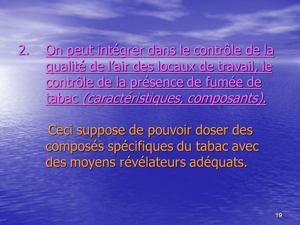 On peut intégrer dans le contrôle de la qualité de l'air des locaux de travail, le contrôle de la présence de fumée de tabac (caractéristiques, composants).
