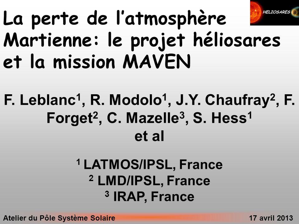 La perte de l'atmosphère Martienne: le projet héliosares et la mission MAVEN