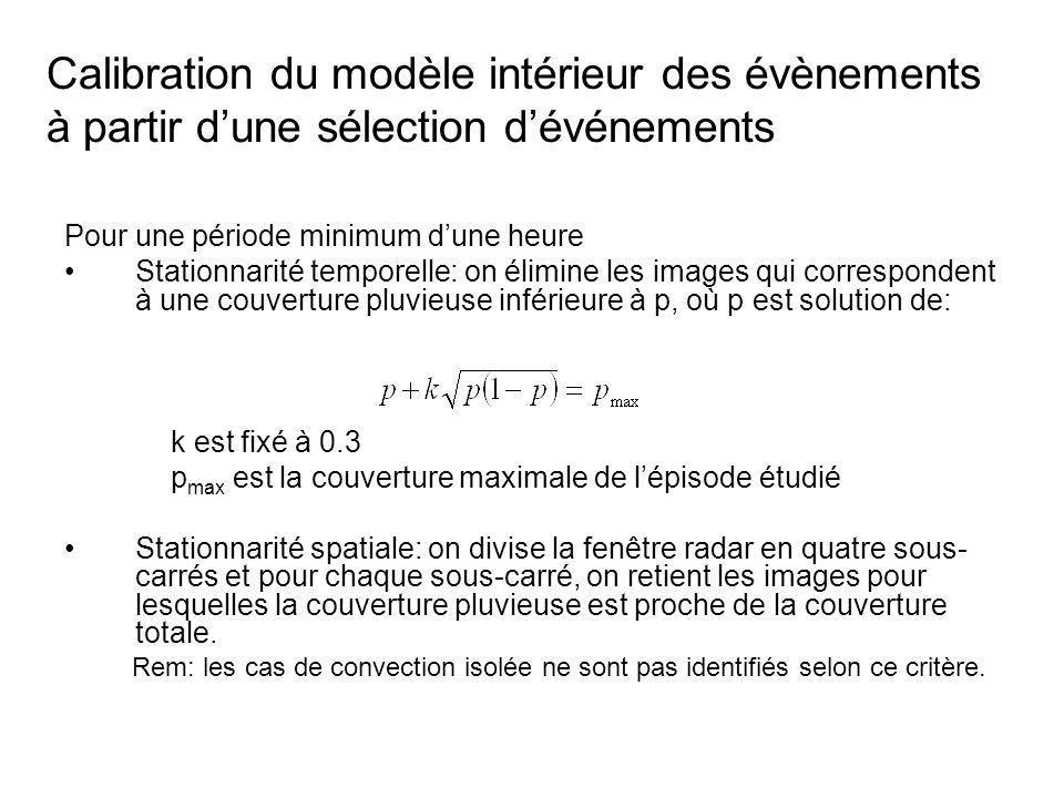 Calibration du modèle intérieur des évènements à partir d'une sélection d'événements