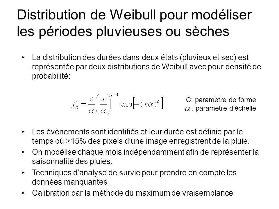 Distribution de Weibull pour modéliser les périodes pluvieuses ou sèches