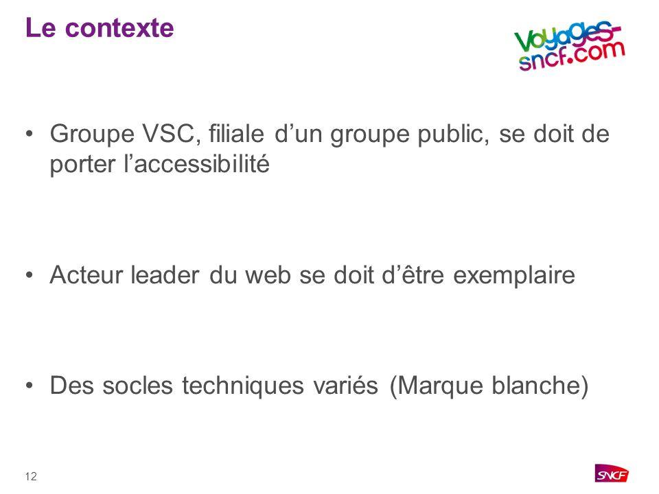 Le contexte Groupe VSC, filiale d'un groupe public, se doit de porter l'accessibilité. Acteur leader du web se doit d'être exemplaire.