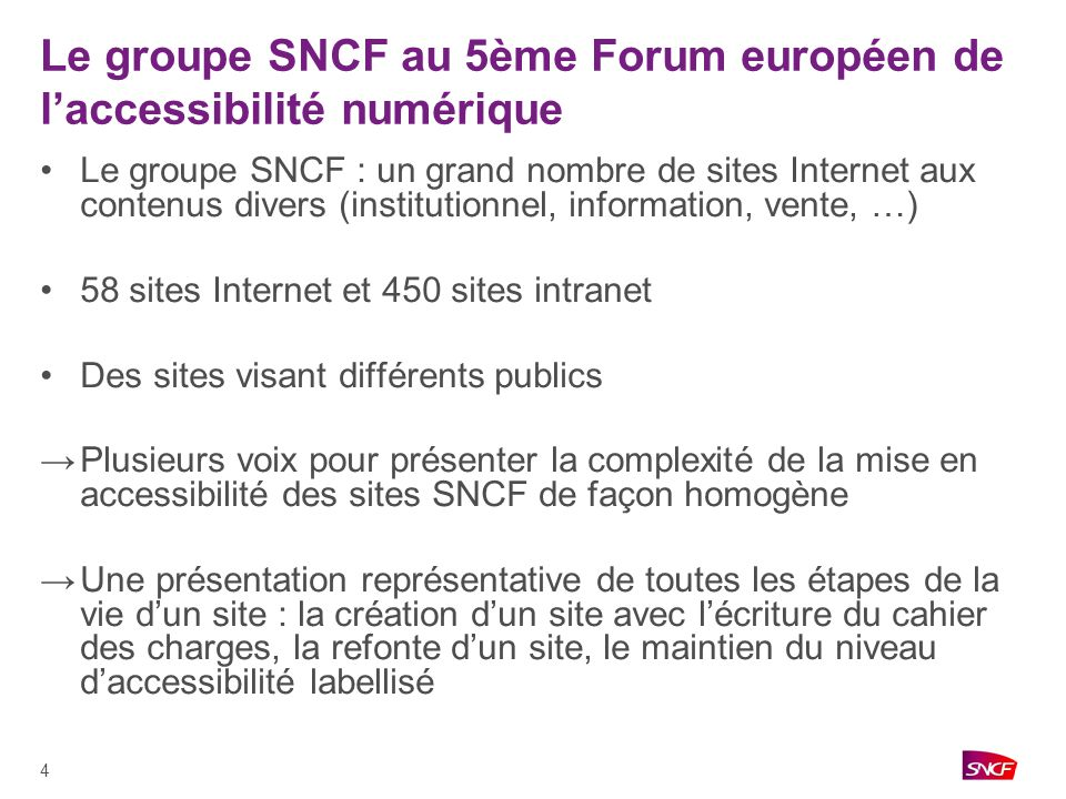 Le groupe SNCF au 5ème Forum européen de l'accessibilité numérique