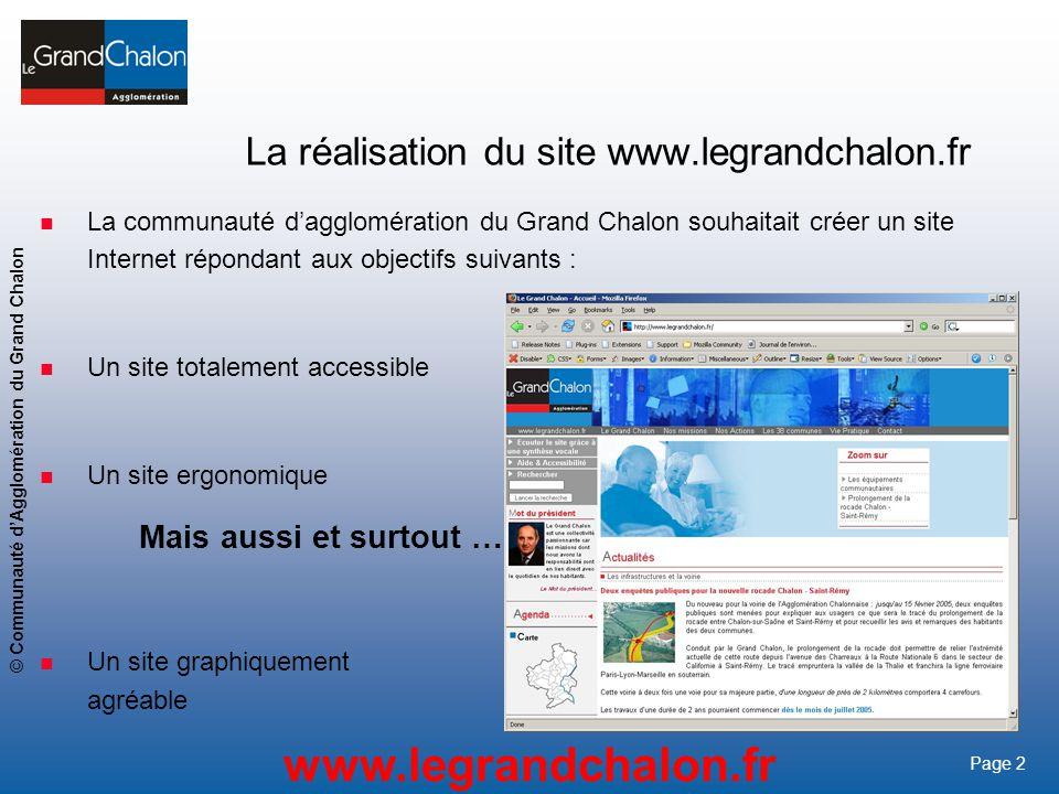 La réalisation du site www.legrandchalon.fr