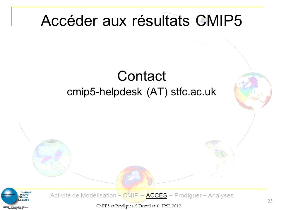 Accéder aux résultats CMIP5