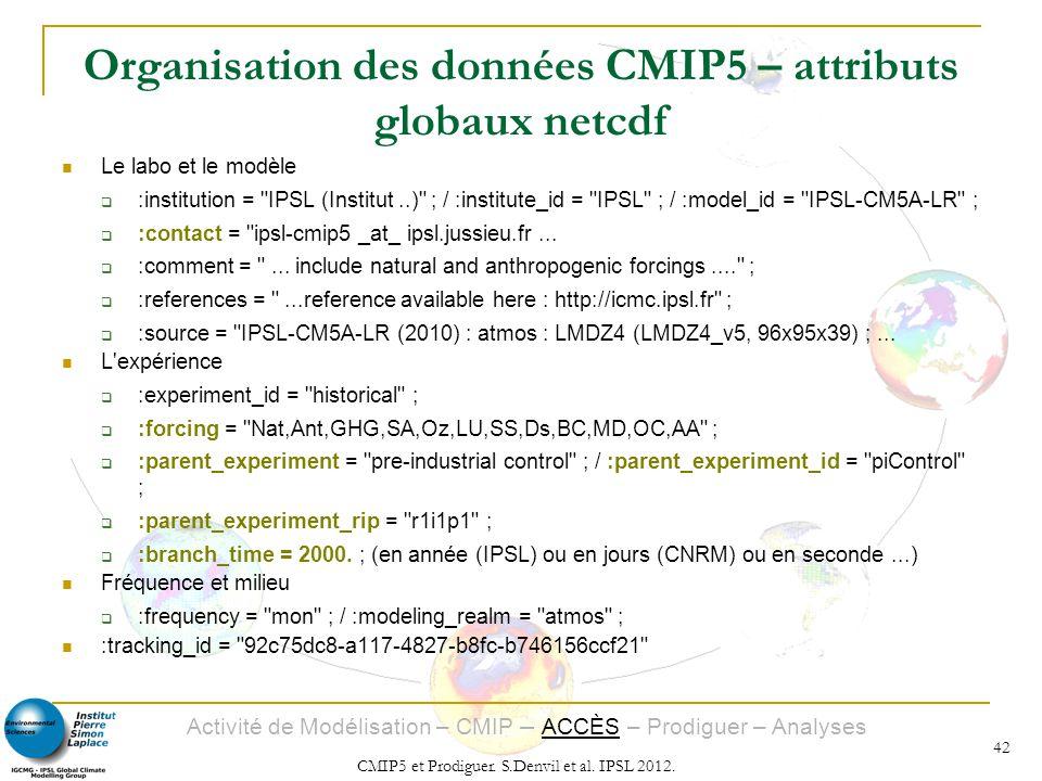Organisation des données CMIP5 – attributs globaux netcdf