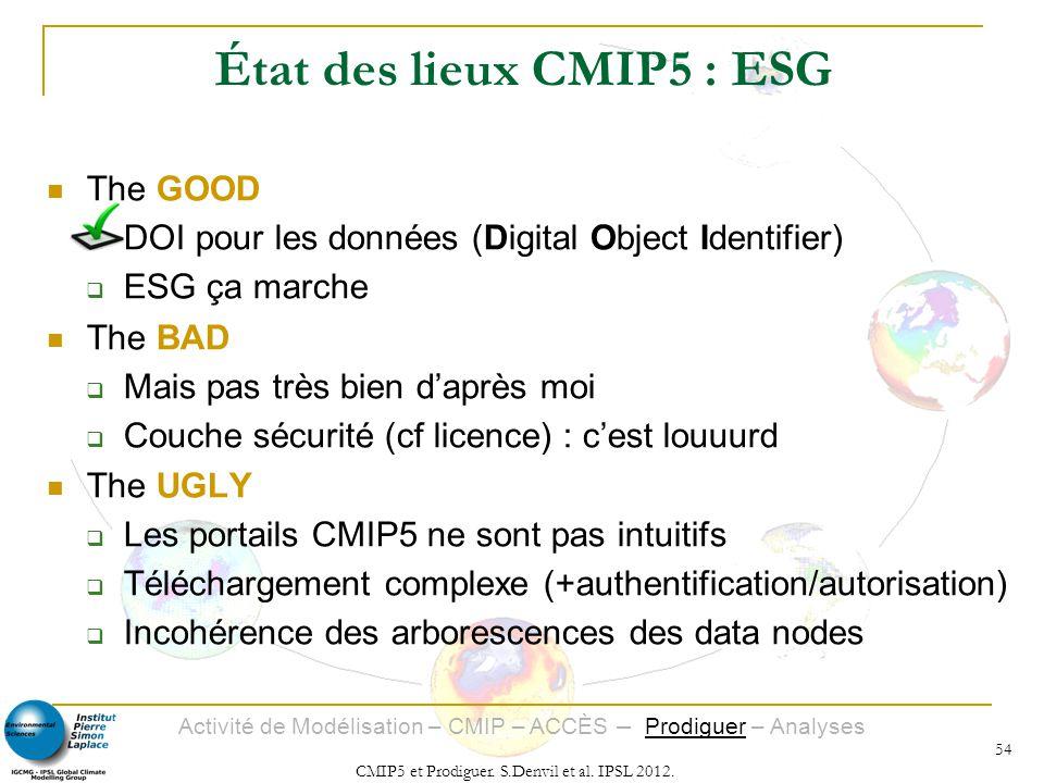 État des lieux CMIP5 : ESG