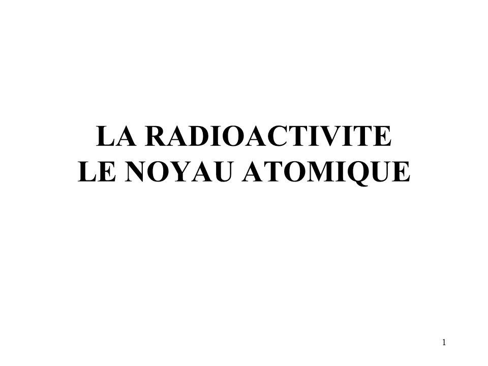 LA RADIOACTIVITE LE NOYAU ATOMIQUE
