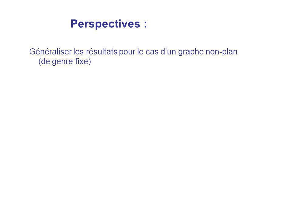 Perspectives : Généraliser les résultats pour le cas d'un graphe non-plan (de genre fixe)