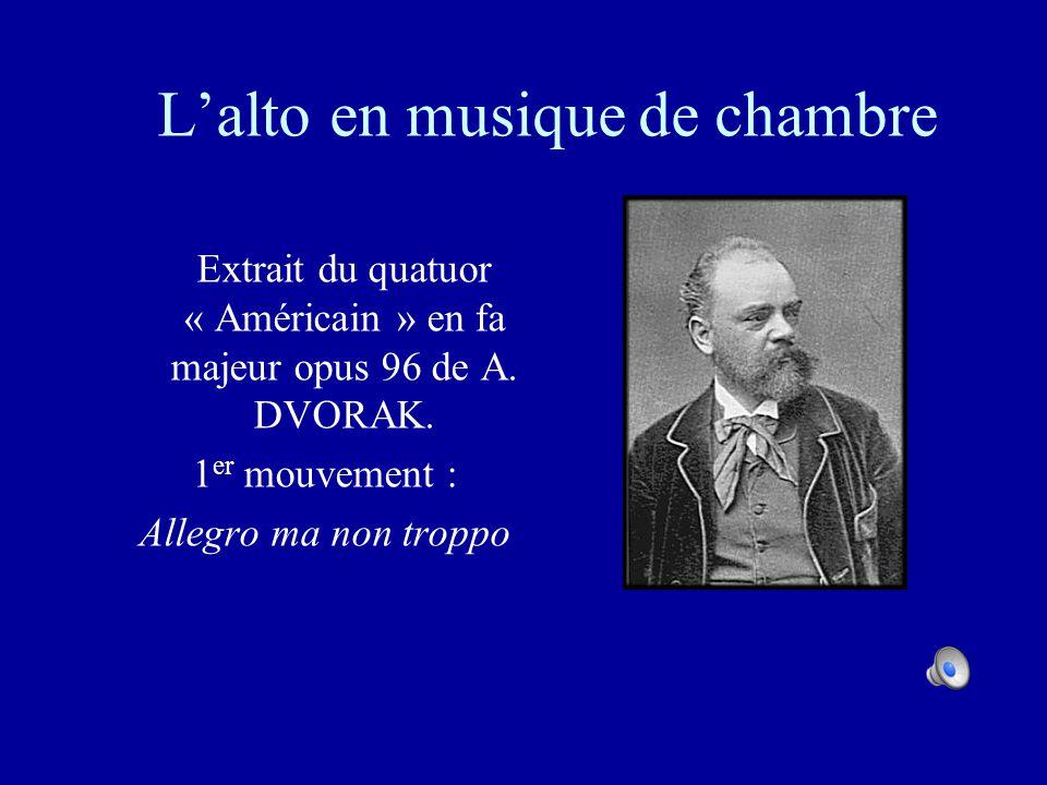 L'alto en musique de chambre