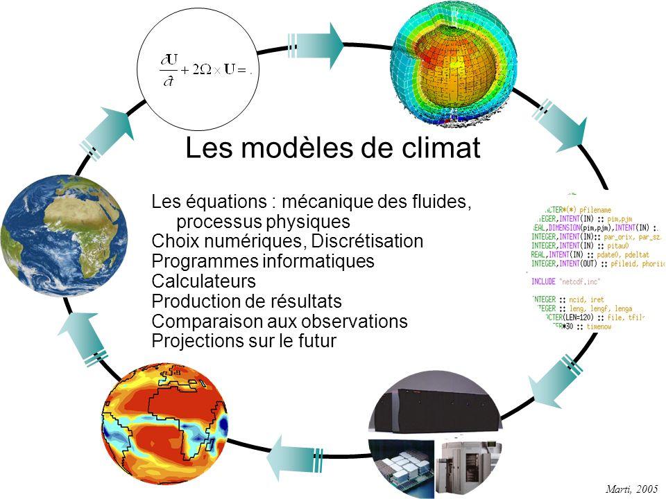 Les modèles de climat Les équations : mécanique des fluides, processus physiques. Choix numériques, Discrétisation.