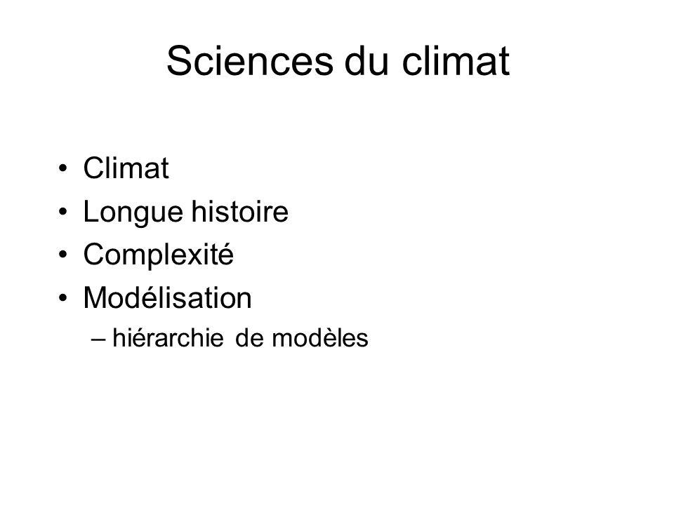 Sciences du climat Climat Longue histoire Complexité Modélisation