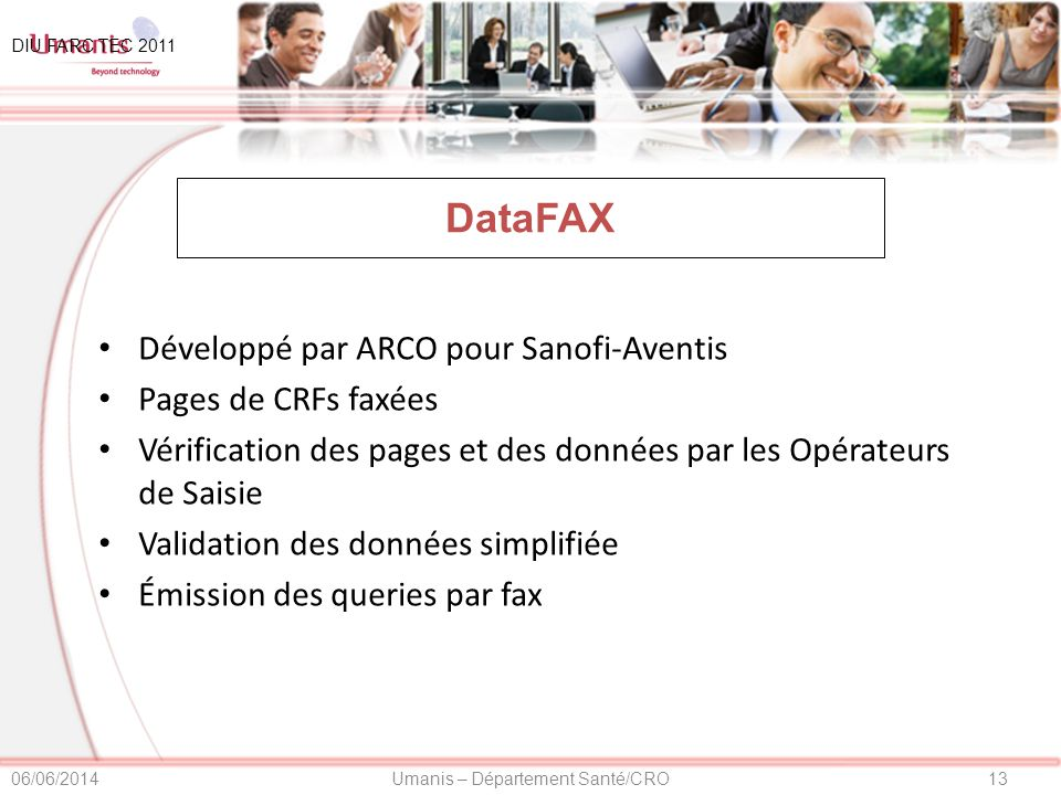 DataFAX Développé par ARCO pour Sanofi-Aventis Pages de CRFs faxées