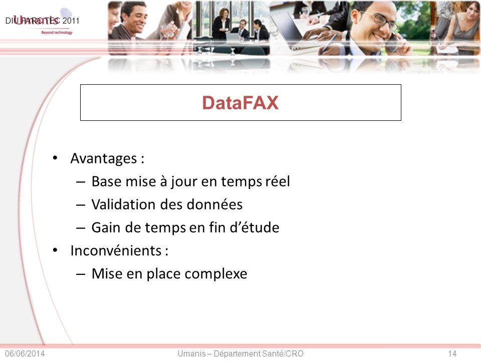DataFAX Avantages : Base mise à jour en temps réel