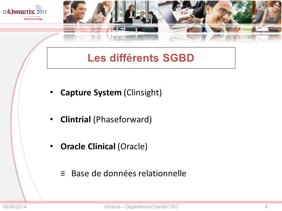 Les différents SGBD Capture System (Clinsight)
