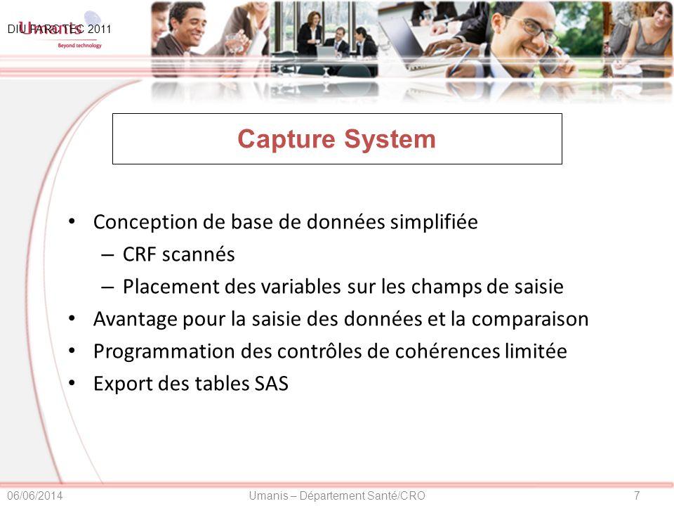 Capture System Conception de base de données simplifiée CRF scannés