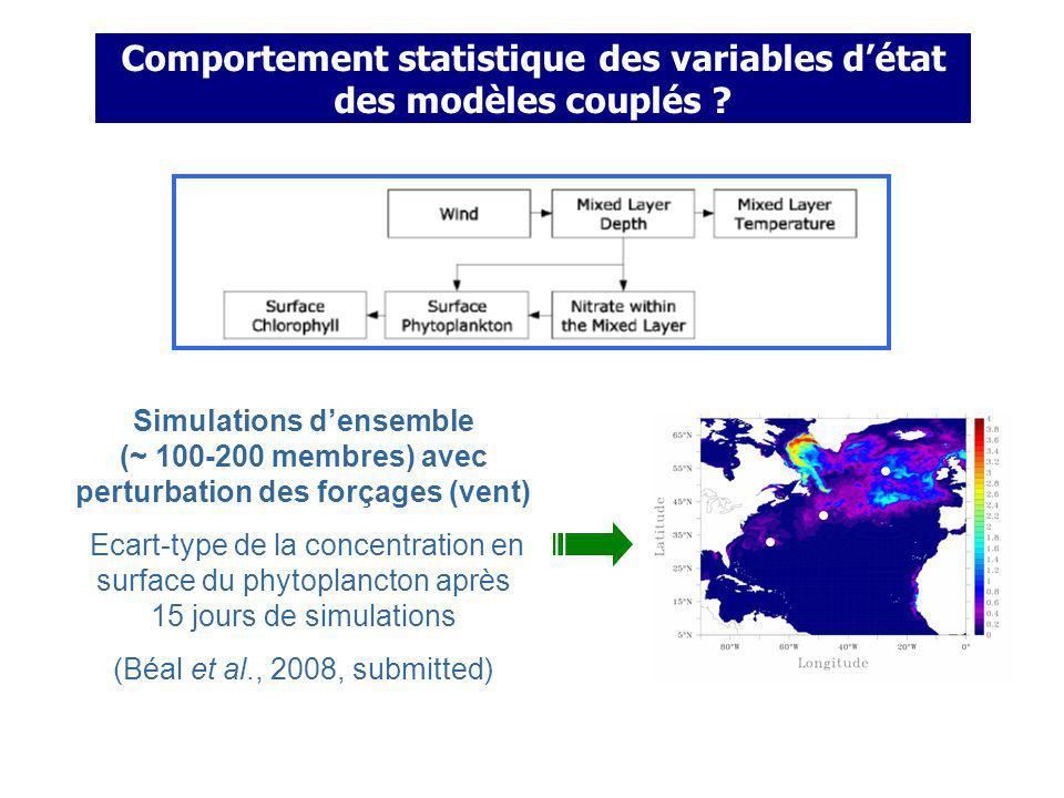 Comportement statistique des variables d'état des modèles couplés