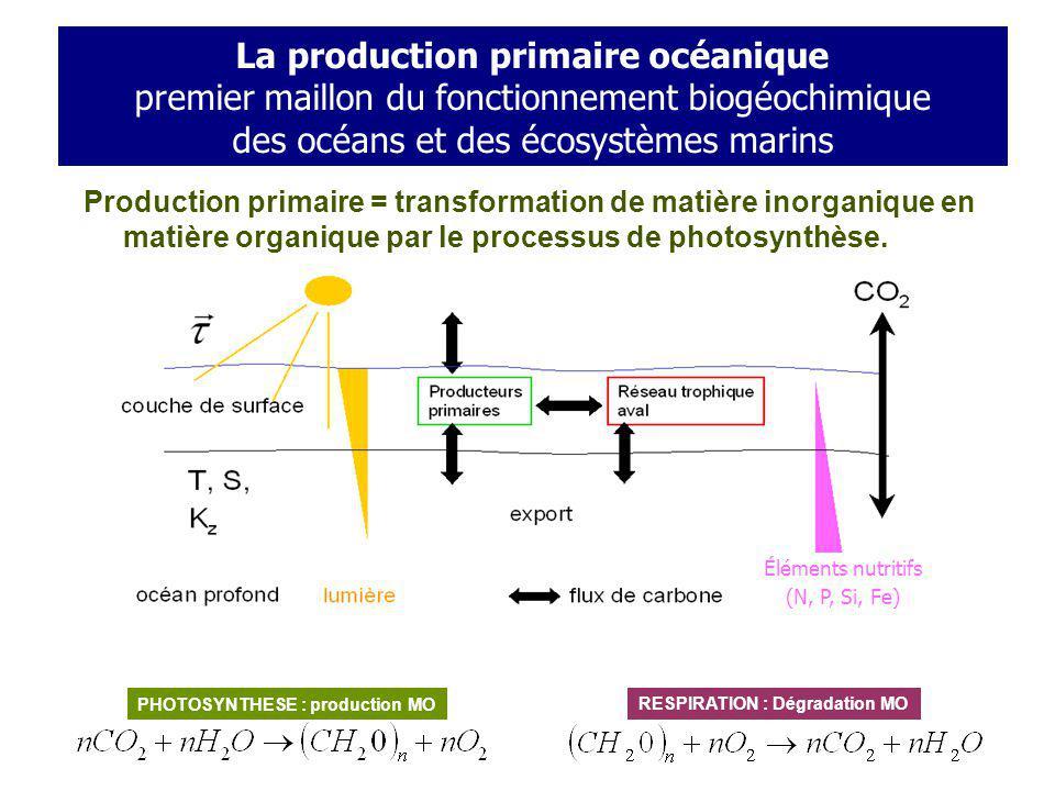 The Biological Pump La production primaire océanique premier maillon du fonctionnement biogéochimique des océans et des écosystèmes marins.