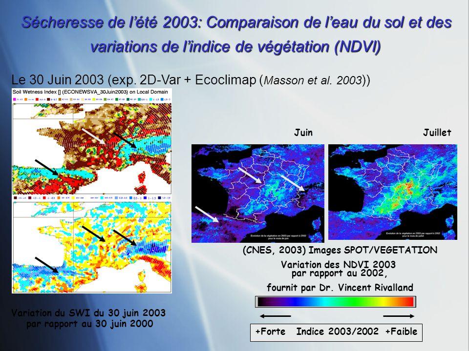 Sécheresse de l'été 2003: Comparaison de l'eau du sol et des