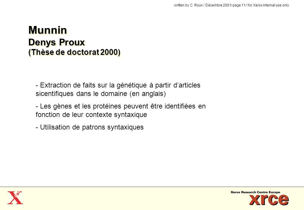 Munnin Denys Proux (Thèse de doctorat 2000)