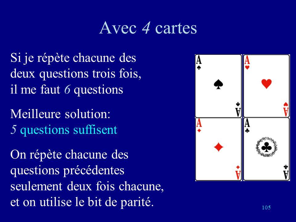 Avec 4 cartes Si je répète chacune des deux questions trois fois, il me faut 6 questions. Meilleure solution: