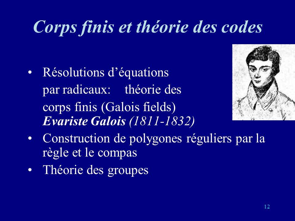 Corps finis et théorie des codes