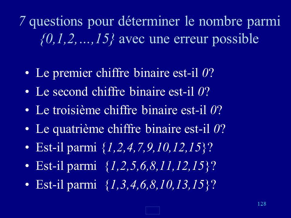 7 questions pour déterminer le nombre parmi {0,1,2,…,15} avec une erreur possible
