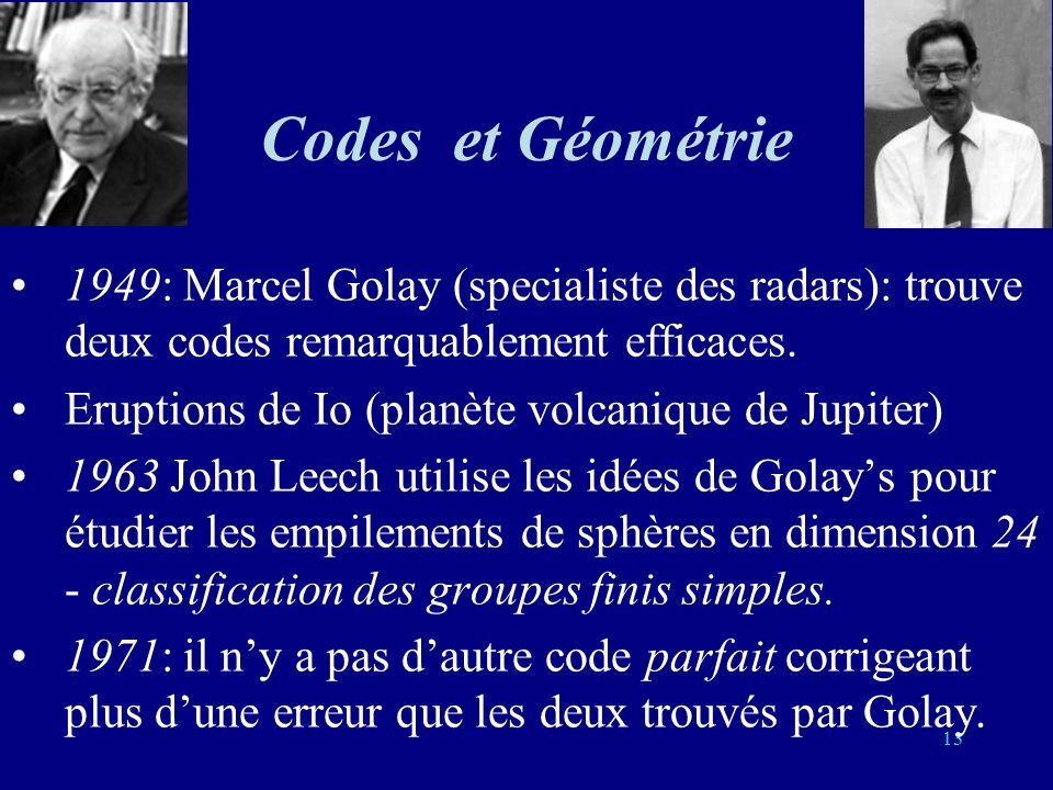 Codes et Géométrie 1949: Marcel Golay (specialiste des radars): trouve deux codes remarquablement efficaces.