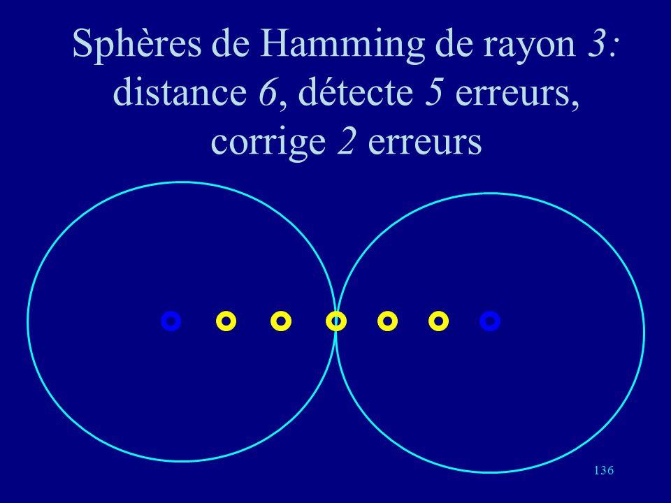 Sphères de Hamming de rayon 3: distance 6, détecte 5 erreurs, corrige 2 erreurs