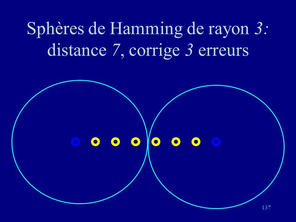 Sphères de Hamming de rayon 3: distance 7, corrige 3 erreurs
