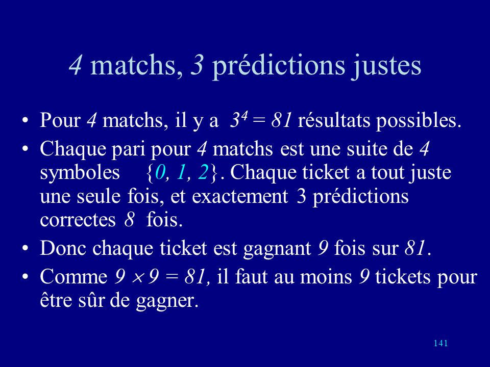 4 matchs, 3 prédictions justes