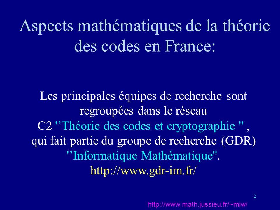 Aspects mathématiques de la théorie des codes en France: