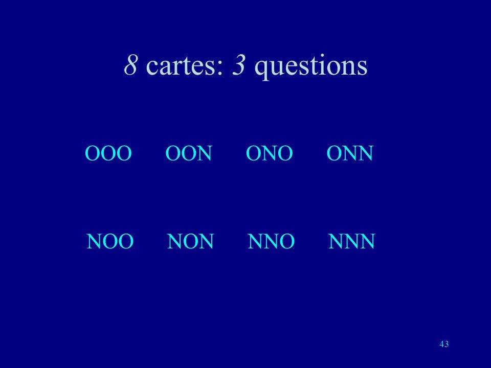 8 cartes: 3 questions OOO OON ONO ONN NOO NON NNO NNN