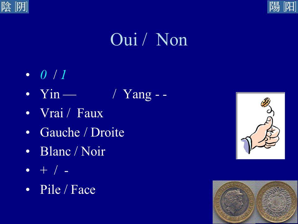 Oui / Non 0 / 1 Yin — / Yang - - Vrai / Faux Gauche / Droite
